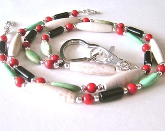 Gemstone Beaded ID Lanyard, Long Y Lanyard Necklace, Professional Badge Holder, Red Coral, Black Obsidian, Green Magnesite, Tan Marble
