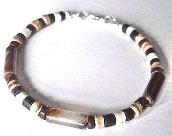 Mens Tribal Bracelet, Coconut Shell, Brown Agate, Semi Precious Gemstone Jewelry, Beaded Bracelet for Him, Gift for Boyfriend - 8 inch