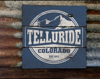 Telluride Colorado, Handcrafted Rustic Wood Sign, Mountain Decor for Home and Cabin, 2135
