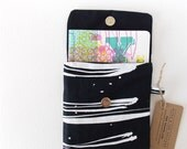 The Traveller Notebook Sleeve Black Organic Cotton & Hemp with White Water Stripe A5 Size Limited Edition