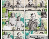Digital Collage Sheet Squares 1x1 inch 2x2 inch 1.5x1.5 inch Vintage Photos Children Girl Boy Jewelry Pendants Printable Images Magnets sq89