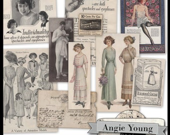 Vintage Clippings #3 - Digital Art Supplies By Angie Young