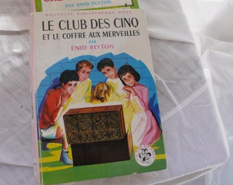 Illustrated French vintage book, Children's adventure story, 1963 Famous five, Enid Blyton tale, mixed media, junk journals, scrapbooking