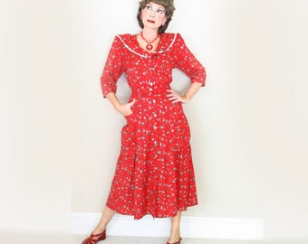 Red Valentines Dress - Vintage 40s Style Day Dress - 80s does 1940s