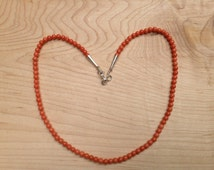 "Pretty Delicate Vintage Mediterranean Salmon Red Coral 4mm Round Bead 18"" Necklace Sterling"