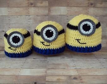 Hand Crochet Baby Boy or Girl Minion Hat ~ Yellow, Blue, Black