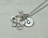 Monogram Necklace Silver Initial Necklace Birthstone Personalized Necklace Heart Infinity Necklace Bridesmaid Gift for Mothers Jewelry