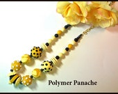Chunky Yellow and Black 22 in. polymer clay necklace handcrafted