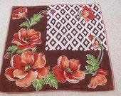 Beautiful Large Brown Floral Cotton Hankie Handkerchief