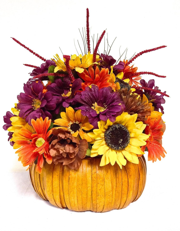 Bright fall pumpkin arrangement floral centerpiece