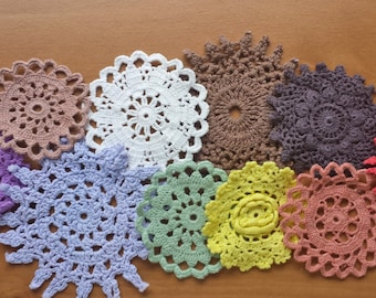 10 Colorful Hand Dyed Crochet Doilies, Rainbow of Vintage Doilies