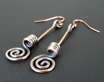 Hammered Copper Spiral Earrings, Antiqued Copper Earrings, Unique Copper Wire Earrings