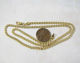 Fancy 14K Gold Chain Necklace 18 inches long, double curb link chain
