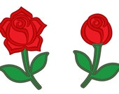 Two single roses - machine embroidery applique designs - 4x4 and 5x7   INSTANT DOWNLOAD