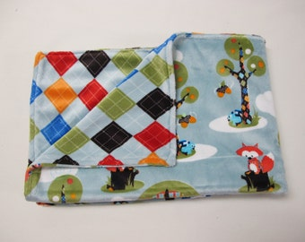 Argyle baby boy blanket with woodland creatures