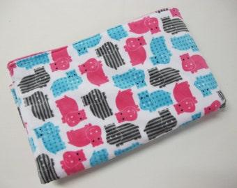 Minky baby girl blanket with pink hippos