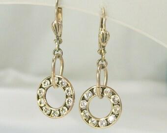 Vintage Earrings Pierced Rhinestone Dangle Dainty Circle Hoops Leaver Back