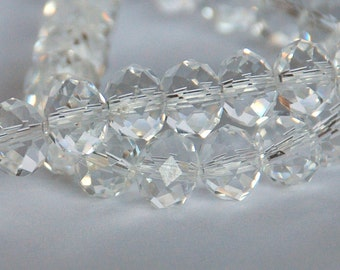12 pcs 10x8mm Transparent Crystal Clear Rondelle Glass Beads