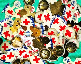 Early 1900s Vintage Metal Red Cross Lapel Pin