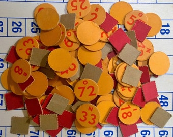Large Lot of Vintage 1960s Yellow and Red Bingo Numbers and Markers