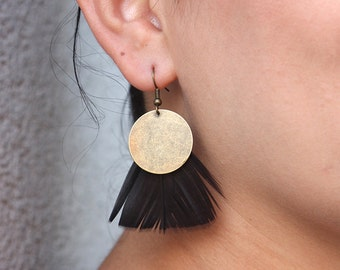 Black Goose Feather Coin Earrings