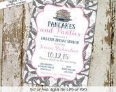 bridal shower invitation pancakes and panties lingerie panty brunch bachelorette hen party wedding invite evite couples coed bash (item 326)
