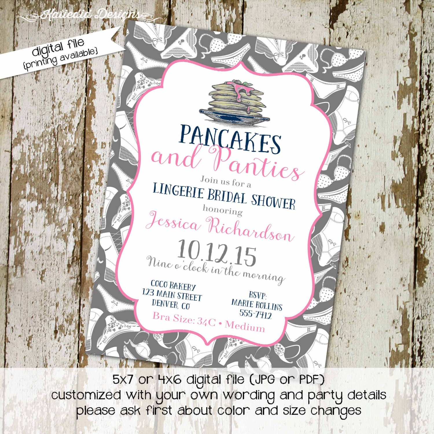 bridal shower invitation pancakes and panties lingerie panty – Pancake Party Invitations