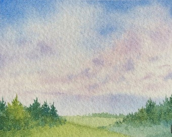 ACEO Original watercolor painting - Cloudy plains
