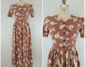 Vintage 1930s Dress / Hibiscus and Ferns Maxi Dress / Brown and Ivory Floral / Long Dress / Small