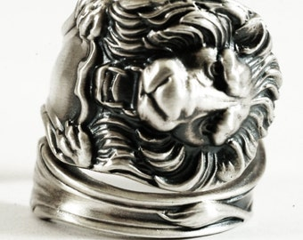 Victorian Lion Ring, Sterling Silver Spoon Ring, Silver Lion Ring, Narnia Jewelry, Gift for Him Gift for Her, Customizable Ring Size (1195)