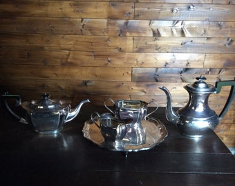 Vintage English Sheffield Viners Alpha Plate tea coffee milk cream sugar tray set circa 1920-40's / English Shop