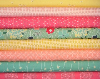 Curiosities Green, Pink and Yellow Fat Quarter Bundle of 8 by Jeni Baker for Art Gallery Fabrics