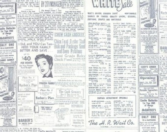 Modern Background Paper Graphite Off White Newsprint by Brigitte Heitland of  Zen Chic for Moda