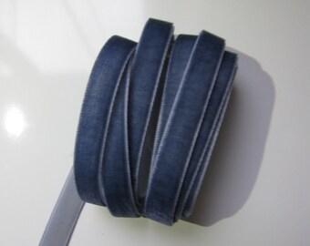 3 Yards Midnight Blue Velvet Ribbon 3/8 inch - 35
