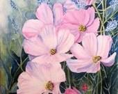 Flower Painting, Cosmos Flower Art Print, Pink Flower Painting Flower Home Decor Art, Floral Art Gift, Cosmos Flower Art, Barbara Rosenzweig