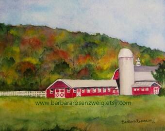 Farm Painting, Red Barn Watercolor, Farm Watercolor, Red Barn Landscape, Red Barn Painting, Autumn Art, Barn Wall Art, Fall Silo Home Decor