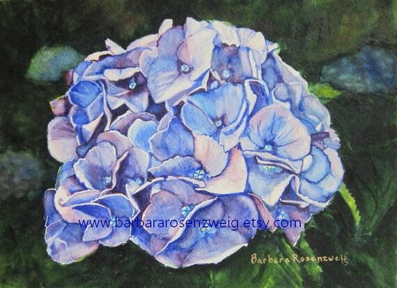 Hydrangea Print, Blue Flower Print, Hydrangea Painting, Hydrangea Wall Art, Garden Flower Art, Hydrangea Watercolor Cobalt Flower Home Decor