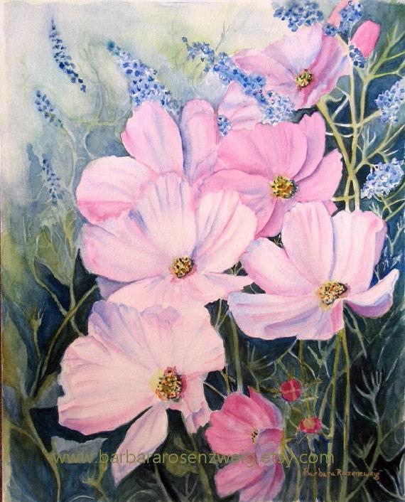 Flower Painting, Cosmos Flower Art Print, Flower Wall Art, Flower Home Decor Art, Floral Art Gift, Cosmos Flower Art, Pink Flower Home Decor