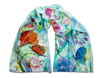 Floral scarf, multicolore, Boho, flowers, butterfly, white, nature, dawn, Aurora, morning, exotic, hand-painted, silk painting, batik, cyan