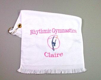 Rhythmic gymnastics with ribbon sports towel