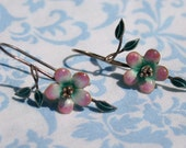 Vintage Sterling Silver and Enamel Flower Earrings Chinese Export