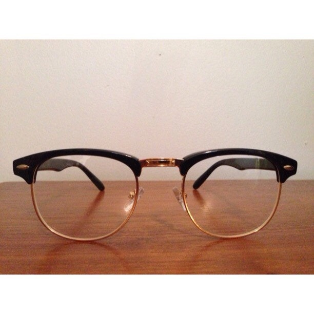 Gold Color Frame Sunglasses : Vintage Looking Retro Half Frame Sunglasses Clear and Dark ...