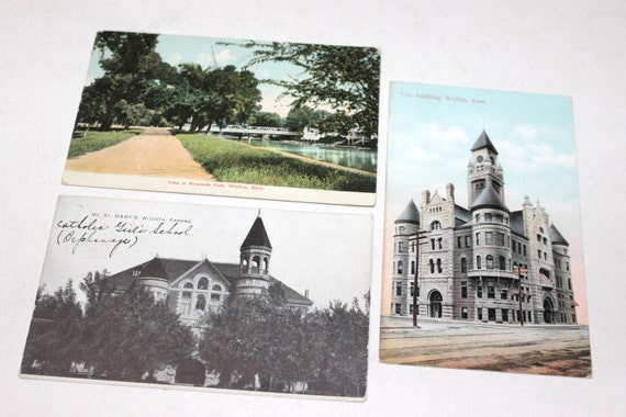 10 vintage wichita kansas postcards used from for Craft stores wichita ks