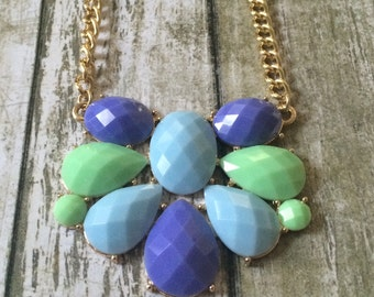 Gorgeous seafoam and blue statement necklace