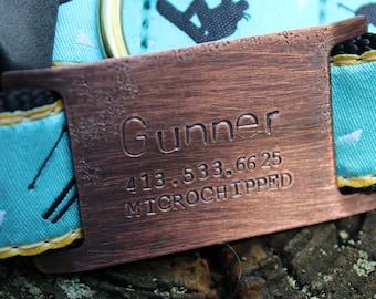 Custom Pet ID Quiet Tag, Slide On Dog ID Tag, Personalized Dog ID Tag, The Gunner