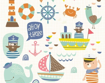 INSTANT DOWNLOAD - Ahoy There Cliparts