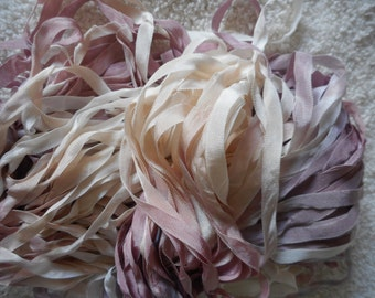 4 Yards ANTIQUE MAUVE and LILAC Hand Dyed Ribbon