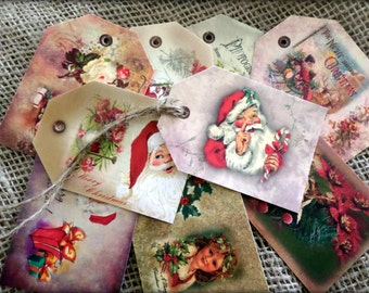 Set of 9 Vintage Christmas Gift Tags