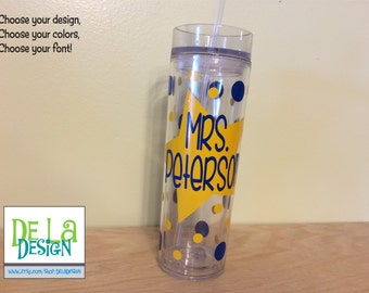 Star teacher, Personalized w/name acrylic tumbler, polka dots, Available in skinny, standard, sport bottle, mason, kiddie cup & XL cup