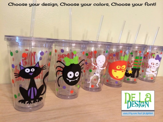 Cute funky Halloween Personalized w/name acrylic tumbler, polka dots, Available in skinny, standard, sip top, sport bottle, mason, Vino2go